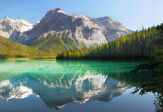 Canadian Scenic Landscape, Emerald Lake. Canadian scenic landscape. Mountains reflected in Emerald Lake after sunrise in Yoho National Park, British Columbia stock photography