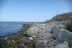 Canadian shore. With many rocks Stock Images