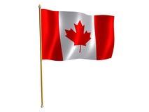 Canadian silk flag. Silk flag of Canada Stock Photos