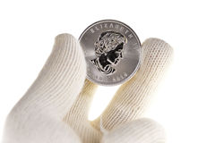Canadian Silver Coin Investment, one ounce troy Stock Photography