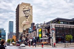 Free Canadian Singer Leonard Cohen Mural Or Monument Painted On A Building On Crescent Street In Montreal, Quebec, Canada Royalty Free Stock Photos - 184897028