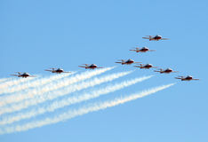 Canadian Snowbirds in flight Royalty Free Stock Photography
