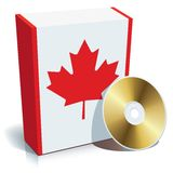Canadian software box and CD. Canadian software box with national flag colors and CD Stock Photography