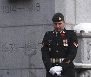 Canadian Soldier At Cenotaph At Remembrance Day Ceremony. Canadian Soldiers at Cenotaph Remembrance Day Ceremony in Edmonton Alberta November 11, 2014 stock image
