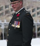 Canadian Soldier At Remembrance Day Ceremony Stock Photos
