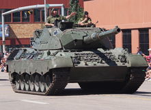 Canadian Soldiers Driving Tank In Parade Royalty Free Stock Image