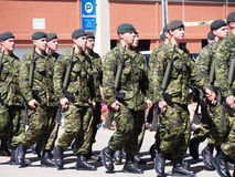 Canadian Soldiers Marching In Parade royalty free stock images