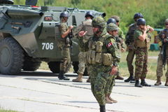 Canadian soldiers. Canadian Prime Minister Justin Trudeau arrived in the Lviv region on July 12, 2016 to visit Europe's largest International Peacekeeping and Stock Images