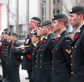 Canadian Soldiers At Remembrance Day Ceremony Royalty Free Stock Photos