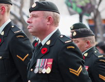 Canadian Soldiers At Remembrance Day Ceremony Royalty Free Stock Image
