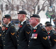 Canadian Soldiers At Remembrance Day Ceremony Royalty Free Stock Photography