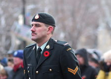 Canadian Soldiers At Remembrance Day Ceremony Stock Images