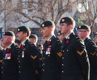 Canadian Soldiers At Remembrance Day Service Royalty Free Stock Photo