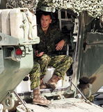 Canadian Soldiers In Vehicle. At Edmonton Alberta k-Days July 22, 2016 Royalty Free Stock Photography