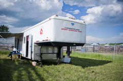 Canadian sport medicine at rodeo. A medical trailer at a rodeo in alberta canadian sports medicine Royalty Free Stock Photography