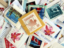 Canadian stamps. Bunch of Canadian postage stamps from Canada Stock Photo
