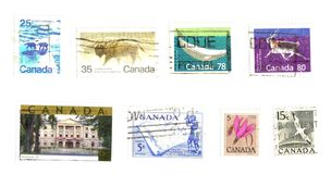 Canadian stamps. Isolated over white Royalty Free Stock Images