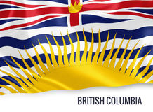 Canadian state British Columbia flag. Canadian state British Columbia flag waving on an isolated white background. State name is included below the flag. 3D Stock Image