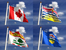 Canadian State Flags royalty free stock photography
