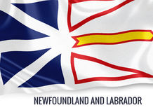 Canadian state Newfoundland and Labrador flag. Canadian state Newfoundland and Labrador flag waving on an isolated white background. State name is included Stock Images