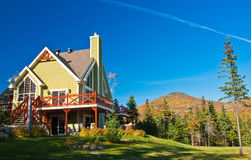 Canadian Summer House in October. Massif Ski Resort near Quebec city, Canada in October Royalty Free Stock Photography