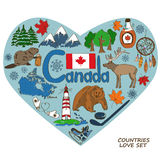 Canadian symbols in heart shape concept. Stock Photo