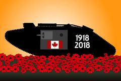 Canadian tank, commemoration of the centenary of the great war. 1918 Royalty Free Stock Image