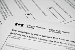 Canadian tax form. Stock Photo