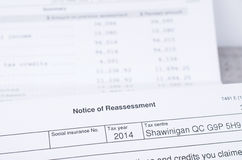 Canadian Tax Notice of reassessment Stock Photography