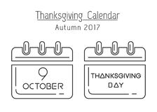 Canadian Thanksgiving calendar 2017. Thanksgiving calendar line icon set. Canadian Thanksgiving 2017. October 9. Holiday date in calendar. Vector illustration Stock Image