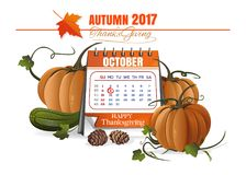 Canadian Thanksgiving Day 2017. October 9. Festive date in the calendar. Thanksgiving design. Vector illustration Royalty Free Stock Images