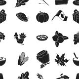 Canadian Thanksgiving Day pattern icons in black style. Big collection of canadian Thanksgiving Day vector symbol stock Stock Photos