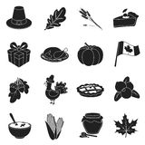 Canadian Thanksgiving Day set icons in black style. Big collection canadian Thanksgiving Day vector symbol stock Stock Images