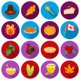 Canadian Thanksgiving Day set icons in flat style. Big collection canadian Thanksgiving Day vector symbol stock Stock Photo