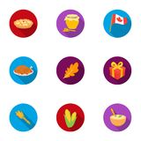 Canadian Thanksgiving Day set icons in flat style. Big collection of canadian Thanksgiving Day vector symbol stock Royalty Free Stock Photos