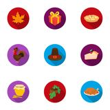 Canadian Thanksgiving Day set icons in flat style. Big collection of canadian Thanksgiving Day vector symbol stock Royalty Free Stock Image