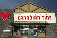 Canadian Tire Store Front in Canmore Alberta Stock Photos