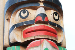 Canadian Totem Pole. Authentic totem pole carved by Canadian First Nations Royalty Free Stock Image