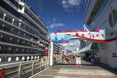 Canadian Trail Tourist Attraction Canada Place Vancouver BC Harbor royalty free stock images