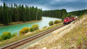 Canadian train. Canadian short train running along the river stock video
