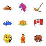 Canadian travel icons set, cartoon style. Canadian travel icons set. Cartoon illustration of 9 canadian travel vector icons for web Royalty Free Stock Image