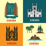 Canadian travel landmarks flat icons Royalty Free Stock Image