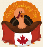 Canadian Turkey Ready to Celebrate Thanksgiving, Vector Illustration Royalty Free Stock Photography