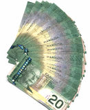 Canadian Twenty dollar bills. Fanned out new Canadian twenty dollar bills Stock Images
