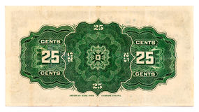 Canadian Twenty-Five Cents - Vintage Paper Money - reverse side. Vintage Canadian paper currency, used instead of coins, dated January 1900 - reverse side Stock Images