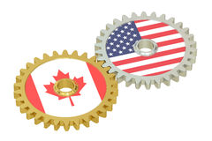 Canadian and United States relations concept, flags on a gears. stock illustration