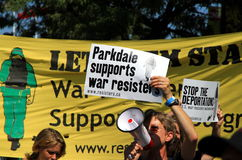 Canadian War Resisters. A group of war resisters marching at the 2012 Labor Day Parade in Toronto Stock Image