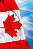 Canadian waving flag on beautiful day Royalty Free Stock Photo