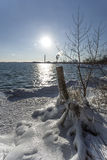 Canadian Winter Eh. Ice and snow by Lake Ontario in Toronto Royalty Free Stock Image