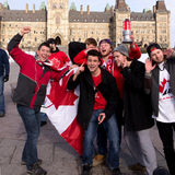 Canadians celebrate hockey gold Royalty Free Stock Images